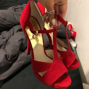 Michael Kors red suede heels